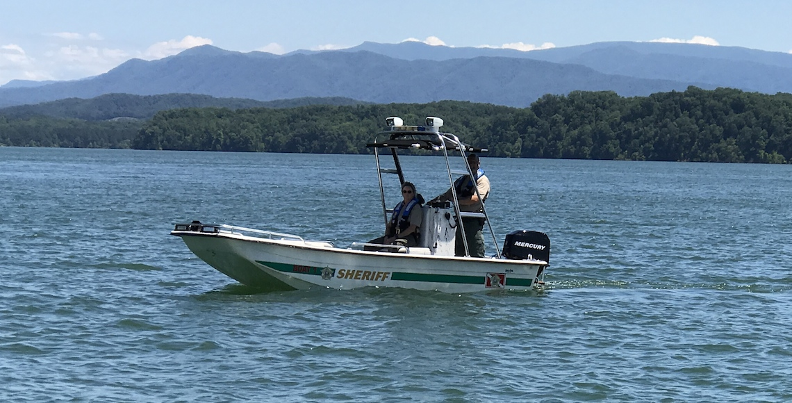 Patrol Boat with mountains in background
